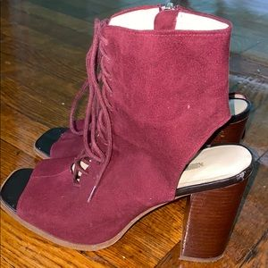 Peep top lace up heels